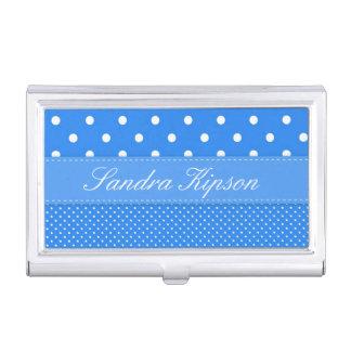 Blue and White Polka Dot Business Card Holder