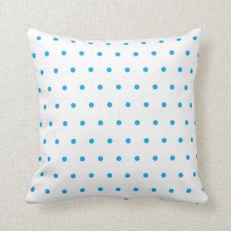 Blue and White Polka Dot Cotton Throw Pillow