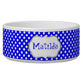 Blue and White Polka Dot Custom Dog Bowl