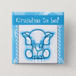 Blue and White Polka Dot Elephant Pinback Button