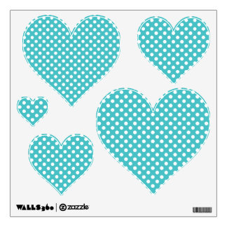 Blue and White Polka-dot Heart: Wall Decals