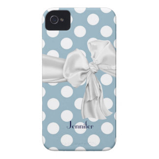 Blue and White Polka Dot iPhone 4 Case