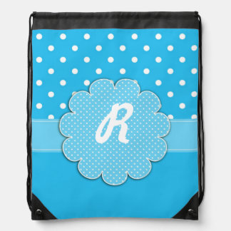 Blue and White Polka Dot Monogram Backpack