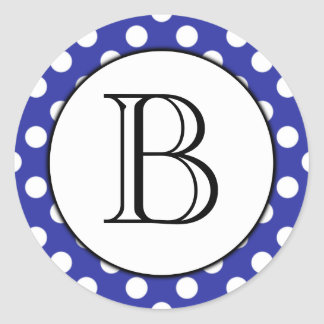 Blue and White Polka Dot Monogrammed Sticker