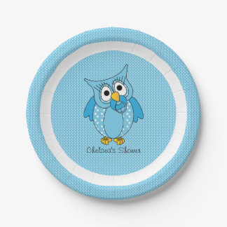 Blue and White Polka Dot Owl | Personalize Paper Plate