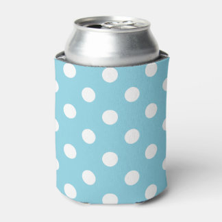Blue and White Polka Dot Pattern Can Cooler