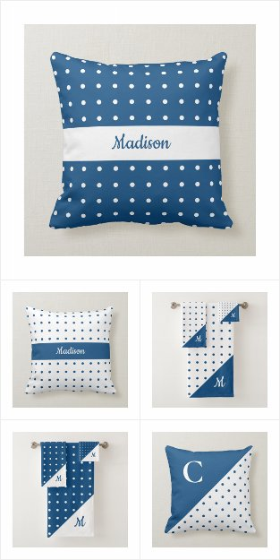 Blue and White Polka Dot Pattern Home Decor