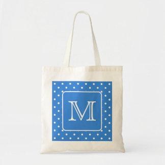 Blue and White Polka Dot Pattern Monogram. Custom. Budget Tote Bag