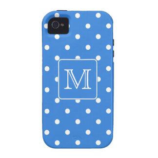 Blue and White Polka Dot Pattern Monogram Custom iPhone 4/4S Cover