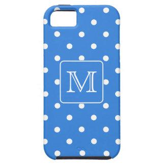 Blue and White Polka Dot Pattern Monogram Custom iPhone 5 Covers
