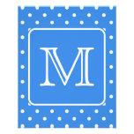Blue and White Polka Dot Pattern Monogram. Custom. Personalized Flyer