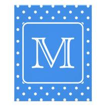 Blue and White Polka Dot Pattern Monogram. Custom. Flyer