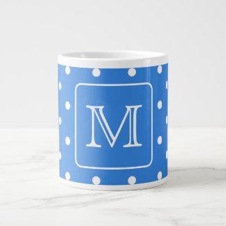 Blue and White Polka Dot Pattern Monogram. Custom. Giant Coffee Mug