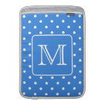 Blue and White Polka Dot Pattern Monogram. Custom. Sleeves For MacBook Air