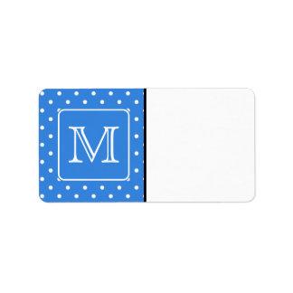 Blue and White Polka Dot Pattern Monogram. Custom. Labels