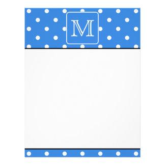 Blue and White Polka Dot Pattern Monogram. Custom. Customized Letterhead