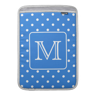 Blue and White Polka Dot Pattern Monogram. Custom. MacBook Air Sleeve