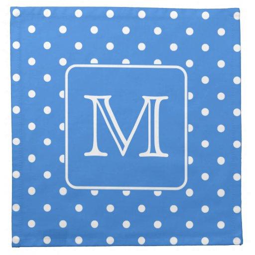 Blue and White Polka Dot Pattern Monogram. Custom. Napkin