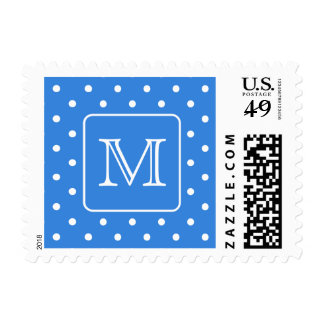 Blue and White Polka Dot Pattern Monogram. Custom. Stamps