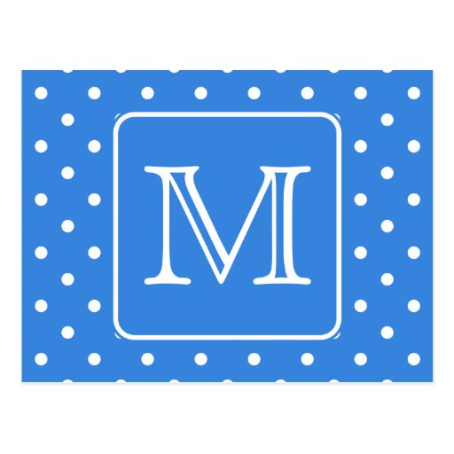 Blue and White Polka Dot Pattern Monogram. Custom. Postcard
