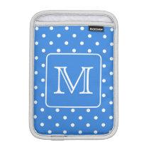 Blue and White Polka Dot Pattern Monogram. Custom. Sleeve For iPad Mini