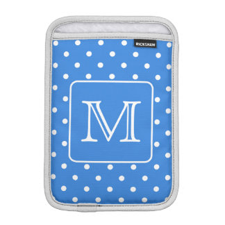 Blue and White Polka Dot Pattern Monogram. Custom. Sleeve For iPad Mini