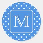Blue and White Polka Dot Pattern Monogram. Custom. Round Stickers