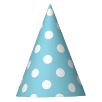 Blue and White Polka Dot Pattern Party Hat