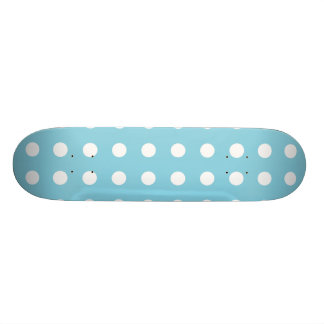 Blue and White Polka Dot Pattern Skateboard Deck