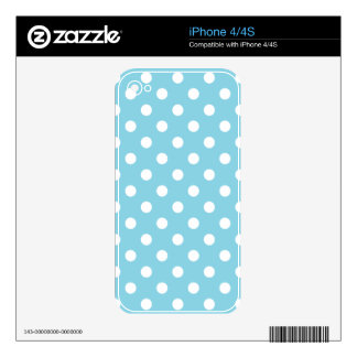 Blue and White Polka Dot Pattern Skins For iPhone 4