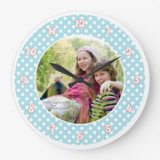 Blue and White Polka Dot Personalized Photo Wall Clocks