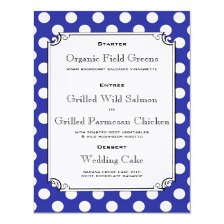 Blue and White Polka Dot Reception Dinner Menu 4.25x5.5 Paper Invitation Card