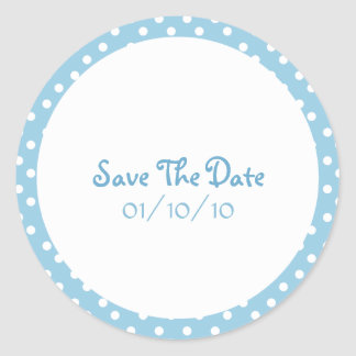 Blue and White Polka Dot Save The Date Stickers