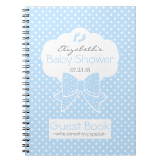 Blue and White Polka Dots Baby Shower Guest Book- Notebook