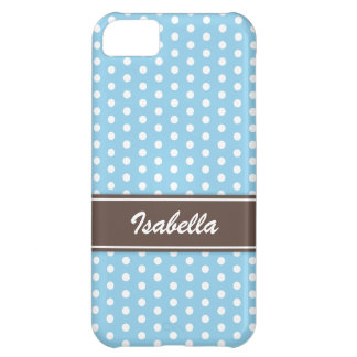 Blue and white polka dots iPhone 5 case
