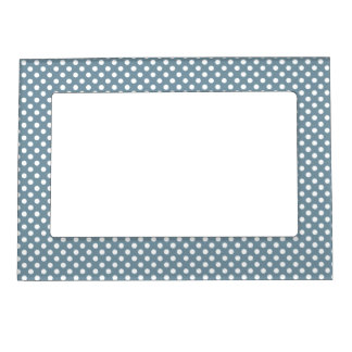 Blue and White Polka Dots Magnetic Frame