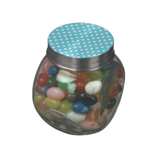 Blue and White Polka Dots Pattern Gifts Glass Jars