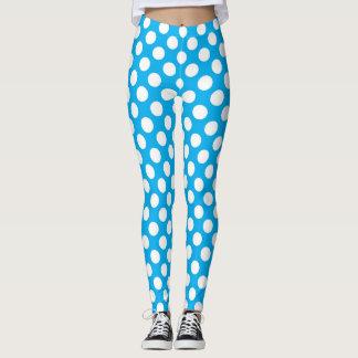 Blue and white polka dots pattern leggings