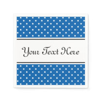 Blue and white polka dots pattern party napkins