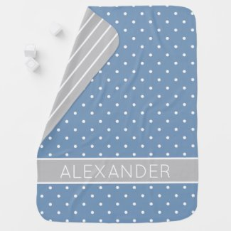 Blue and White Polka Dots With Grey Personalized Baby Blanket
