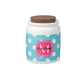 Blue and White Polka Dots with Pink Monogram Candy Dish