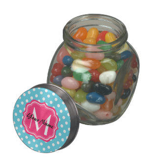 Blue and White Polka Dots with Pink Monogram Glass Candy Jars