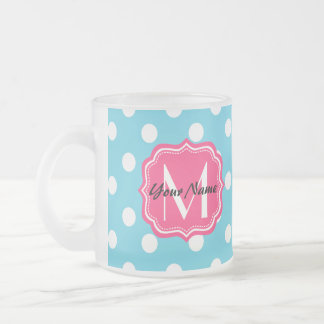 Blue and White Polka Dots with Pink Monogram Frosted Glass Coffee Mug