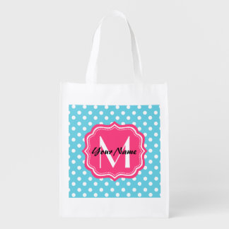 Blue and White Polka Dots with Pink Monogram Grocery Bag