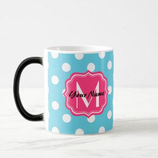 Blue and White Polka Dots with Pink Monogram Magic Mug