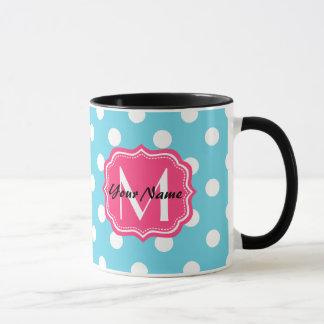 Blue and White Polka Dots with Pink Monogram Mug