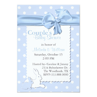 Blue and White Polka Dots With Rabbits Baby Shower 5x7 Paper Invitation Card