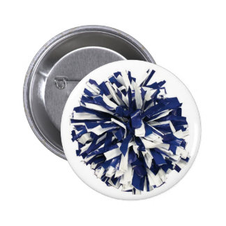 Blue and White Poms Button