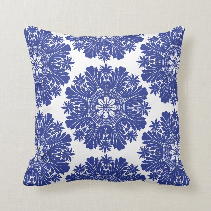 Blue White Throw Pillow : Blue and White Porcelain Baroque Throw Pillow Zazzle