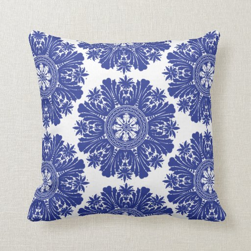 blue and white porcelain baroque throw pillows zazzle. Black Bedroom Furniture Sets. Home Design Ideas
